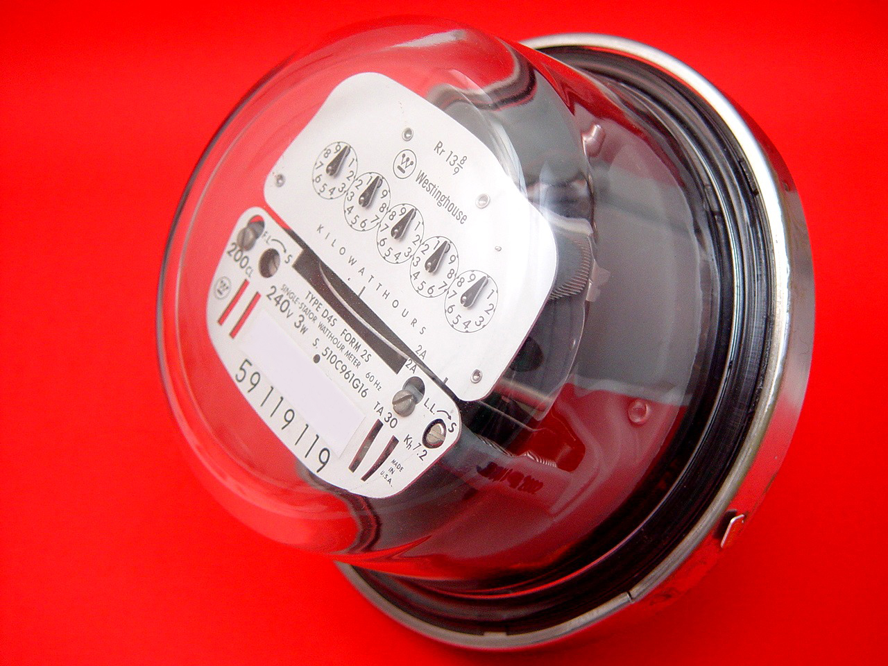 Analog Electric Meter - Watthour Meter - Analog Only Electric Utility Meter