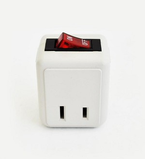 2-prong Wall Plug with Cutoff Switch