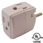 Cube Shaped 3 Outlet Grounded Adapter